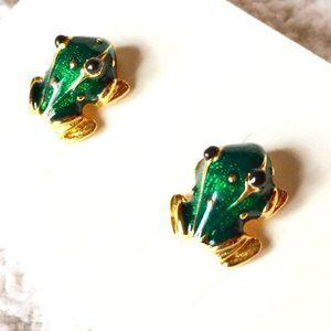 Gold & enamel Frog signed MOD© post earrings